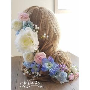 ヘアパーツ20Pセット! ヘッドドレス 海外ウェディング ラプンツェル風 髪飾り ローズ ホワイト (2-hair032)|misuzu1187
