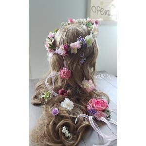 ヘッドドレス 花冠・ヘアパーツ・リストレットのセット ウェディング  髪飾り ヘアパーツ 花輪 (crown014)|misuzu1187