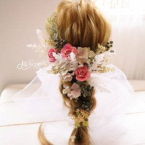 ヘアパーツ11Pセット 髪飾り カサブランカ  胡蝶蘭 和洋折衷 成人式 和婚 ブライダル2-out009|misuzu1187
