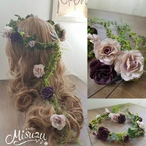 花冠3点セット ヘッドドレス ガーデンウェディング ローズ ナチュラル 大人婚 2-crown020 |misuzu1187