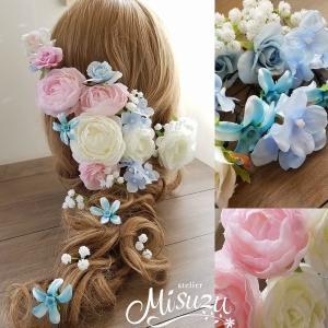 ヘアパーツセット20P ヘッドドレス 海外ウェディング ラプンツェル風 髪飾り ピンク 2-hair051|misuzu1187