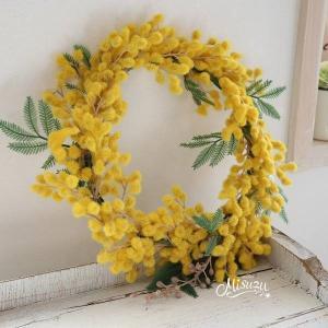 misuzu038  季節のリース ミモザのナチュラルリース 玄関 アカシアmimosa