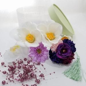 得々OUTLET 白椿 マム 成人式 袴 ヘアパーツセット ヘッドドレス 和洋折衷 髪飾り|misuzu1187