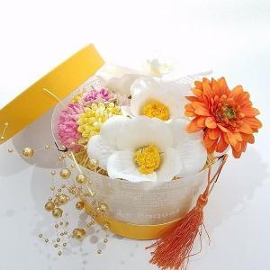 得々OUTLET 白椿xオレンジ マム 成人式 袴 ヘアパーツセット ヘッドドレス 和洋折衷 髪飾り|misuzu1187