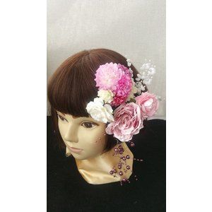 【得々OUTLET♪】アートフラワー 髪飾り ヘッドドレス ヘッドコサージュ ブライダルシーン バラ 和装 浴衣 (out114)|misuzu1187