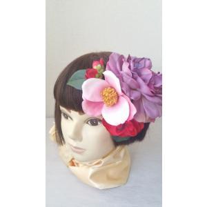 【得々OUTLET♪】アートフラワー 髪飾り ヘッドドレス ヘッドコサージュ ブライダルシーン 椿 和装 袴 卒業式 (out117)|misuzu1187