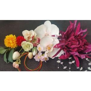 【得々OUTLET♪】アートフラワー 髪飾り ヘッドドレス ヘッドコサージュ ブライダルシーン 胡蝶蘭 和装 浴衣 (out101)|misuzu1187