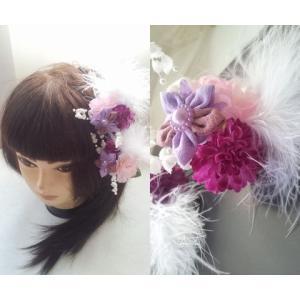【得々OUTLET♪】アートフラワー 髪飾り ヘッドドレス ヘッドコサージュ ブライダルシーン 胡蝶蘭 和装 浴衣 (hair_rose_setseijin23)|misuzu1187