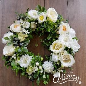 フラワーリース ウェルカムリース ギフト アートフラワー 玄関 ガーデンウェディング 贈り物 送別 クリスマス(1-wreath001)|misuzu1187