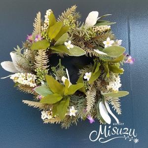 フラワーリース ウェルカムリース ギフト アートフラワー 母の日 玄関 ガーデンウェディング 贈り物 送別 クリスマス(1-wreath002)|misuzu1187