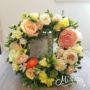フラワーリース ウェルカムリース ギフト アートフラワー 誕生日 サプライズ ガーデンウェディング 贈り物 送別 クリスマス(1-wreath004)
