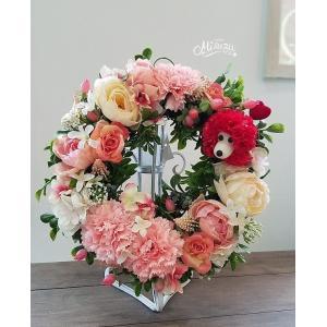 フラワーリース ウェルカムリース ギフト 母の日 アートフラワー 誕生日 サプライズ ガーデンウェディング 贈り物 送別(2-wreath005) |misuzu1187
