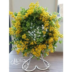 フラワーリース ウェルカムリース ギフト 母の日 アートフラワー 誕生日 サプライズ ミモザ 贈り物 送別(2-wreath007) |misuzu1187