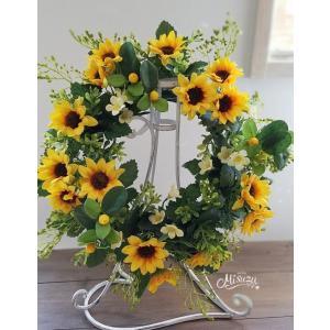 フラワーリース ウェルカムリース ギフト 母の日 向日葵 贈り物 ひまわり 玄関|misuzu1187