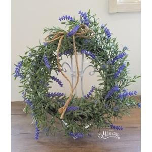 フラワーリース ウェルカムリース ギフト ラベンダー 贈り物 ガーデン 玄関2-wreath009|misuzu1187
