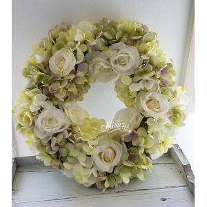 フラワーリース ギフト バラ 紫陽花 贈り物 ガーデン 玄関2-wreath012|misuzu1187
