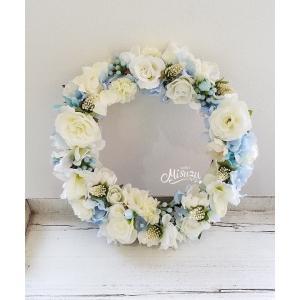 フラワーリース ウェルカムリース ギフト バラ 紫陽花 贈り物 ガーデン 玄関(2-wreath014)|misuzu1187