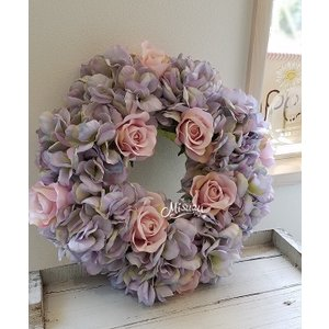 フラワーリース ウェルカムリース ギフト バラ 紫陽花 贈り物 ガーデン 玄関(2-wreath015)|misuzu1187