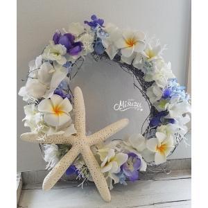 フラワーリース ウェルカムリース ギフト プルメリア マリンブルー 贈り物 ガーデン 玄関(2-wreath017)|misuzu1187