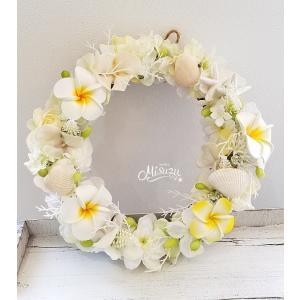 フラワーリース ウェルカムリース ギフト プルメリア マリン 貝殻 贈り物 ガーデン 玄関2-wreath019|misuzu1187