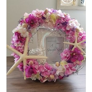 フラワーリース ウェルカムリース ギフト プルメリア ピンク 贈り物 ガーデン 玄関2-wreath020|misuzu1187