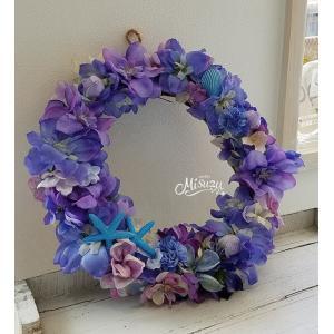 フラワーリース ウェルカムリース ギフト デルフィニウム マリン 貝殻 贈り物 ガーデン 玄関(2-wreath021)|misuzu1187