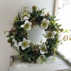 クリスマスローズのリース ウェルカム ドアリース 玄関  ノエル  2-wreath027|misuzu1187
