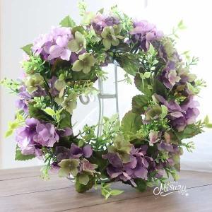 紫陽花リース モスパープル 玄関 ウェルカムスペース ギフトmisuzu043mp