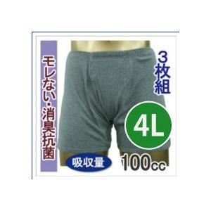 男性用 尿漏れ 失禁パンツ トランクス しっかり安心タイプ 100cc 4Lサイズ  33015  3枚組 15%オフ