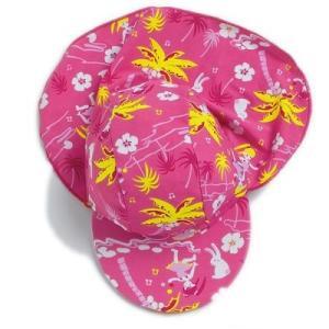 UVカットベビーキャップ ST34H ハワイ柄子供用たれつき帽子  XSサイズ(約38cm)  あごひも無し紫外線対策・UVカット新生児向け(女の子用) mitaka-japan