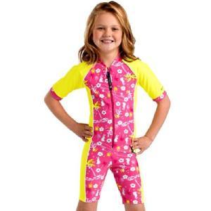 キッズラッシュスーツ(ST2201H)半袖ハーフパンツのワンピーススーツ女の子に人気  ピンクハワイ柄 mitaka-japan