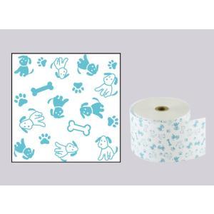 感熱ファンシーレジロール紙 58×80×12 犬 ブルー (50巻)