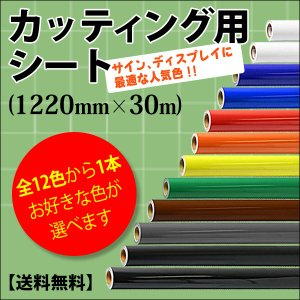 カッティング用シート 屋外耐候4年 1220mm×30m 紙管内径3インチ 再剥離糊 全12色から1...