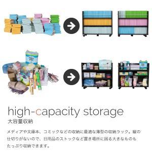 押入れ 収納 ラック 本棚 2個セット 幅19 奥行78 キャスター付き ワゴン 整理 隙間 家具 押入れ 収納 リビング 大容量 棚 スライド 収納庫 漫画 CD DVD|mitene|06