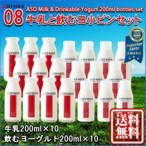 お中元 熊本 阿蘇 ギフト 牛乳&飲むヨーグルト20本セット 阿部牧場 阿蘇ミルク 三ツ星 08|mitinoekiaso