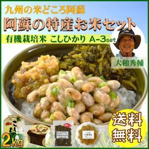 お米 熊本 阿蘇 令和元年産 ギフト 2kg あか牛みそ 手作り納豆 阿蘇本漬高菜 コシヒカリ A-3セット 大和|mitinoekiaso