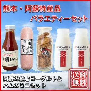 お中元 熊本 阿蘇 ギフト 特産品バラエティセット03 阿蘇の飲むヨーグルトとハムのミニセット|mitinoekiaso