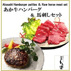熊本 阿蘇 ギフト 「阿蘇とり宮」の あか牛ハンバーグ  & 馬刺しセット  贈答用  冷凍 T-5 mitinoekiaso