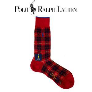 靴下 ロゴ メンズ POLO Ralph Lauren ポロ ラルフローレン 赤 レッド チェック ロゴ ポニー ラム毛混 made in JAPAN 日本製 ロング 02011354-16|mitoman
