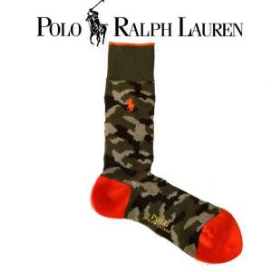 靴下 ロゴ メンズ POLO Ralph Lauren ポロ ラルフローレン made in JAPAN 日本製 カモフラージュ 迷彩 オレンジ ロング 長め 02015301-24|mitoman