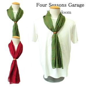 Four Seasons Garage ストール レザーベルト付き チェック レッド グリーン フリーサイズ レディース メンズ ユニセックス|mitoman