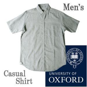 University of Oxford  ユニバーシティーオブオックスフォード 半袖シャツ 麻混 無地 シンプル カジュアル フォーマル 人気 ブランド|mitoman
