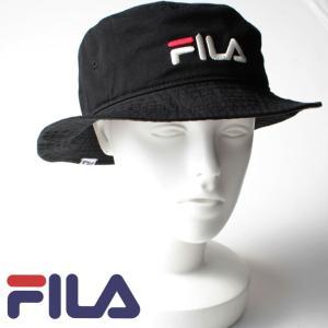 FILA フィラ 帽子 メンズ レディース ブラック コットン ツイル バケットハット 刺繍 BLACK BUCKET HAT シンプル アウトドア 野球帽子 熱中症対策 通学 mitoman