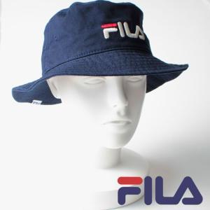 FILA フィラ 帽子 メンズ レディース ネイビー コットン ツイル バケットハット 刺繍 NAVY BUCKET HAT シンプル アウトドア 野球帽子 熱中症対策 通学 mitoman