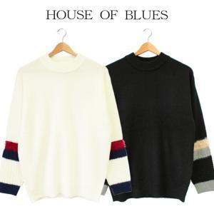 ニット ライン メンズ House Of Blues ハウスオブブルース 男性 モックネック セーター シンプル ワンポイント 人気 ブランド 1821073|mitoman