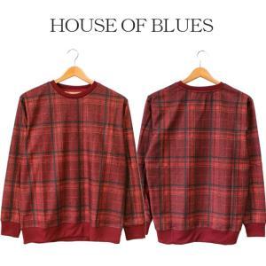 チェック 長袖 メンズ House Of Blues ハウスオブブルース 男性 グレンチェック シンプル レッド 赤 人気 ブランド カジュアル 1824102|mitoman