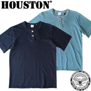 HOUSTON ヒューストン メンズ 男性 半袖 Tシャツ インディゴ コンチョ アメカジ 無地 シンプル 青 ブルー 水色 人気 有名 ブランド 21481|mitoman