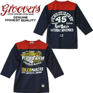 GROOVERS グルーヴァーズ  PERDUE UNIVERSITY HALF SLEEVE FOOTBALL Tシャツ 7分袖 アメカジ ロゴ バックプリント BOYS 男の子 150cm made in JAPAN 日本製|mitoman