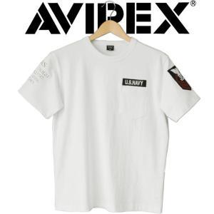 AVIREX アヴィレックス NAVAL PATCH T-SHIRT ポケット付き 半袖 Tシャツ ポケT ワッペン シンプル ミリタリー  アヴィレックス アメカジ 父の日|mitoman