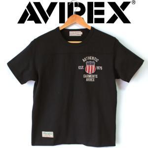 半袖tシャツ メンズ ブランド AVIREX アヴィレックス SIGNATURE VARSITY フットボール Tシャツ 刺繍 ワッペン 星条旗 定番ロゴ ミリタリー ARMY アヴィレックス|mitoman
